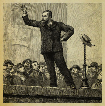 Woodcut of man speaking to a crowd.